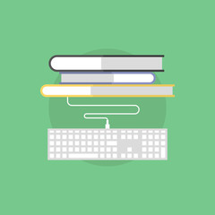 Online bookstore flat icon illustration