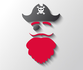 Illustration of pirate with red beard and black hat