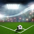 canvas print picture - soccer ball on the green field corner