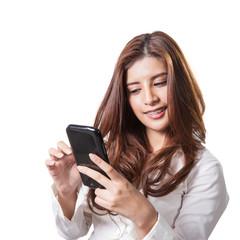 Brunette businesswoman text mobile phone