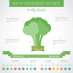 Healthy food flat style infographic. Vector. Broccoli