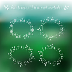 Eco blurry background and floral frames for seasons