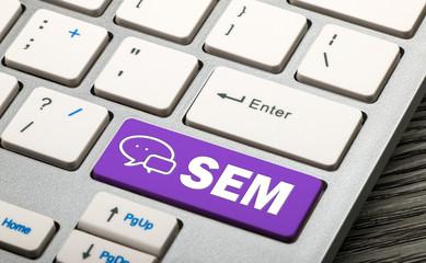 social media marketing concept on keyboard