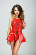 Seductive Fashion Model in Red Showy Dress