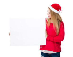 Woman with christmas hat and white banner