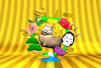 Smile Brown Sheep, New Year's Bamboo Wreath On Gold