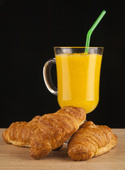orange juice and croissants