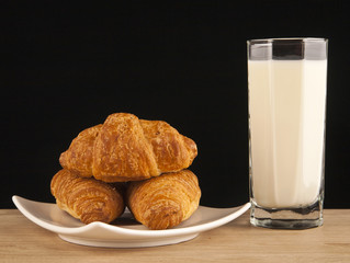 milk in glass and croissants