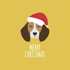 Merry Christmas Card, Beagle
