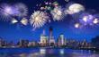 Obrazy na płótnie, fototapety, zdjęcia, fotoobrazy drukowane : New York skyline at night with fireworks