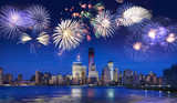 Fototapety New York skyline at night with fireworks