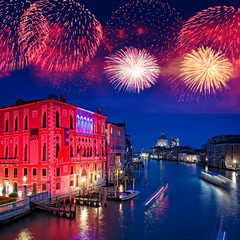 Fireworks over the Grand Canal of Venice by night, Italy