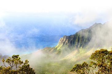 Kalalau Valley, Na Pali coast, Kauai, Hawaii. Fades to white.
