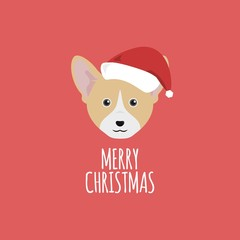 Merry Christmas Card, Welsh Corgi