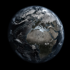 Gloomy, polluted Earth. Europe & Africa.