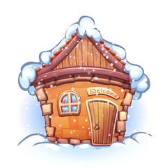 Vector illustration of winter cartoon home