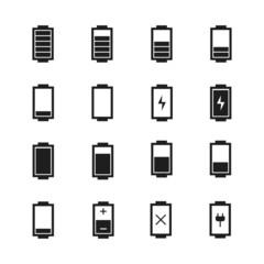 Battery web icons,symbol,sign in flat style. Charge level