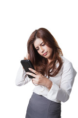 Businesswoman pressing text mobile phone