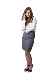 Brunette businesswoman talking mobile phone