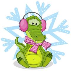 Crocodile in a fur headphones