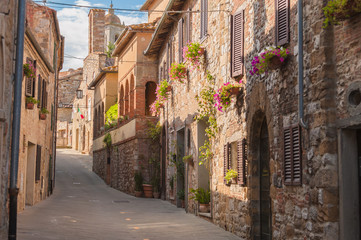 The medieval old town in Tuscany, Italy