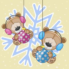 Two Teddy Bears in a fur headphones