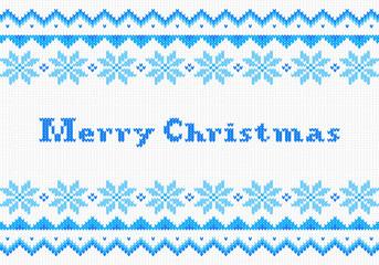 gestrickte Weihnachtskarte in blau weiß