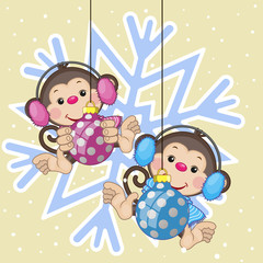 Two Monkeys in a fur headphones