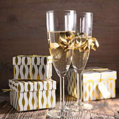 champagne glasses and gift