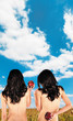 twins backs apples clouds skyes