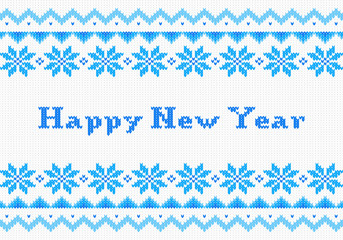 red and white New Year knit greeting card