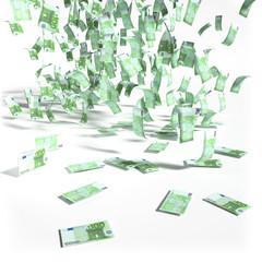 Geldregen aus 100 Euroscheinen