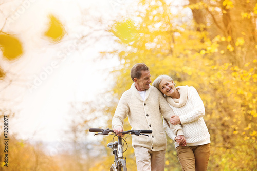 Senior couple with bicycle in autumn park - 73288977