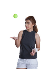 Ball tennis with beauty woman