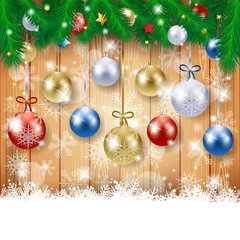 Christmas background with fir and Christmas balls