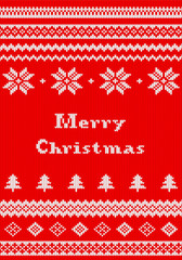 red and white Christmas knit greeting card