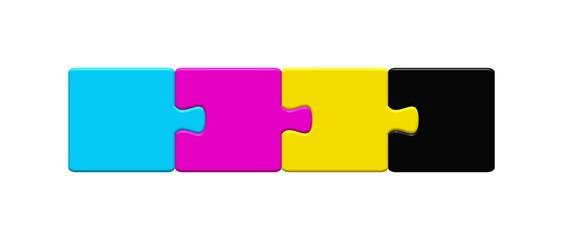 Print - Puzzleteile in Druckfarben