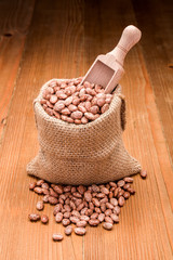 Pinto beans in burlap bag