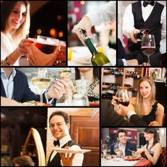 Collage of people eating, drinking and having fun