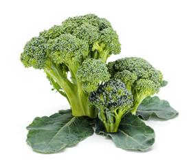 Ripe broccoli crops on leaves