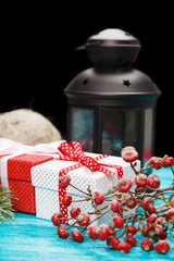 Christmas gift boxes with a lantern