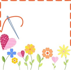 Background with embroidered flowers