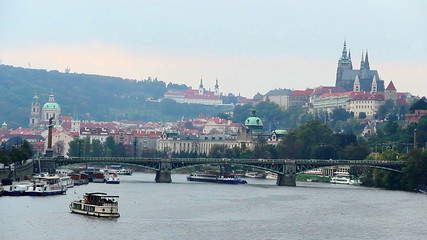 Prague riverside bridges view, timelapse Castle Petrin mountain