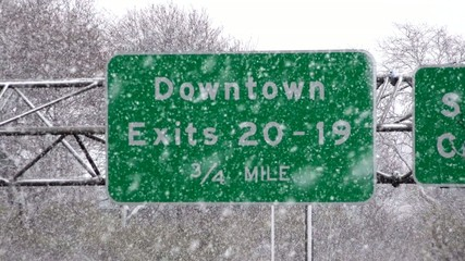 Traffic Sign in Blizzard