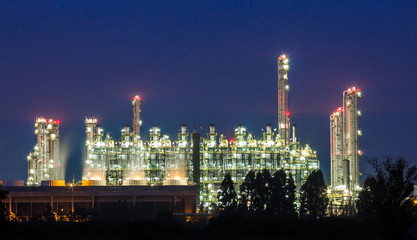 oil refinery on night