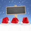 Holzschild mit Weihnachtsmützen / Schnee