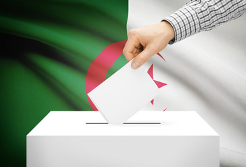 Ballot box with national flag on background - Algeria