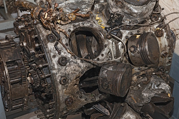 engine destroyed of an old military aircraft