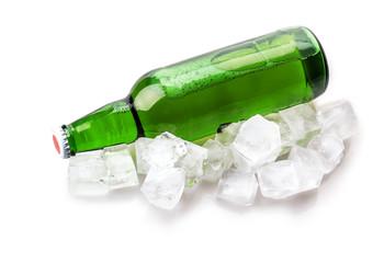 beer bottle in ice cubes