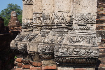 Relief art at the archaeological site in Thailand